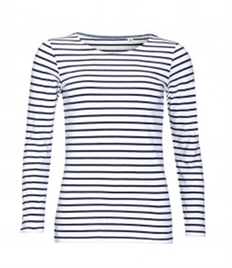 SOL'S Ladies Marine Long Sleeve Striped T-Shirt