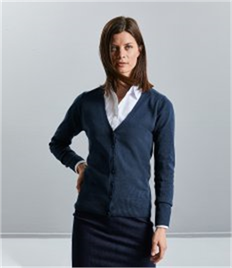 Russell Collection Ladies Cotton Acrylic V Neck Cardigan