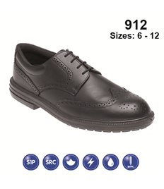 Briggs Footwear Black Brogue Safety Shoe (Leather)