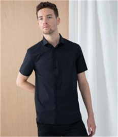 Henbury Short Sleeve Stretch Poplin Shirt