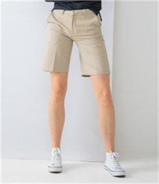 Henbury Ladies Flat Fronted Chino Shorts