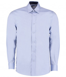 Kustom Kit Premium Contrast Long Sleeve Tailored Oxford Shirt