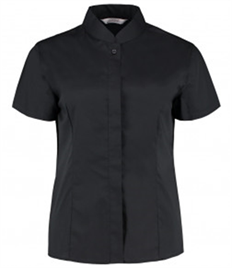 Bargear Ladies Short Sleeve Tailored Mandarin Collar Shirt