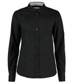 Kustom Kit Ladies Premium Long Sleeve Contrast Tailored Oxford Shirt