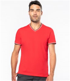 Kariban Tipped Piqué V Neck T-Shirt