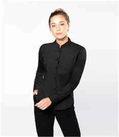 Kariban Ladies Long Sleeve Mandarin Collar Shirt