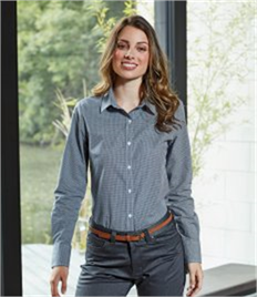 Premier Ladies Gingham Long Sleeve Shirt