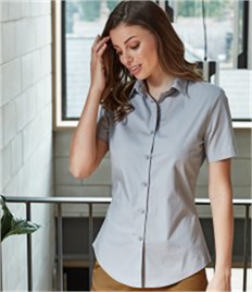 Premier Ladies Short Sleeve Stretch Fit Poplin Shirt