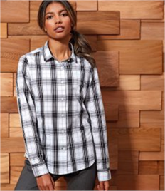 Premier Ladies Ginmill Check Long Sleeve Shirt