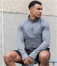 Tombo Long Sleeve Zip Neck Performance Top