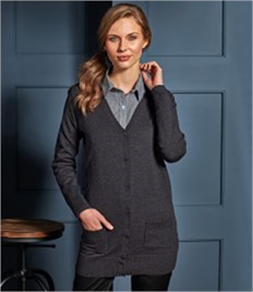 Premier Ladies Long Line V Neck Cardigan