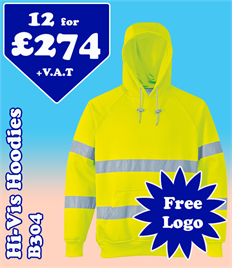 12- B304 Hi-Vis Hoodies S-3XL with YOUR LOGO £274