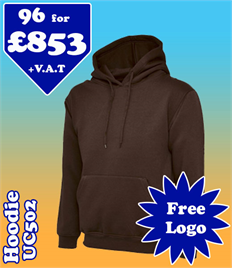 96 - UC502 Hoodie XS-2XL with YOUR LOGO £853
