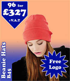 96 - BB45 Beechfield Beanie Hats with YOUR LOGO- £327