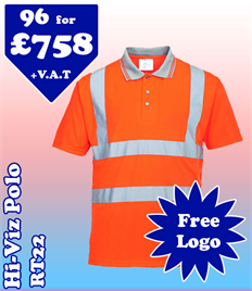 96- RT22 Hi-Vis Polo XS-5XL with YOUR LOGO £758