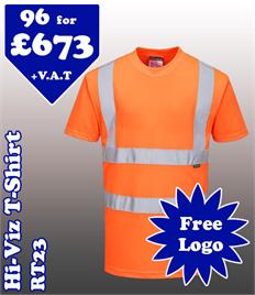 96- RT23 Hi-Vis T-Shirt XS-5XL with YOUR LOGO £673