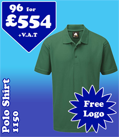 96 - 1150 Polo Shirts XS-5XL with YOUR LOGO- £554