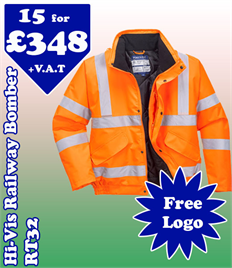 15 - RT32 Hi-Viz Railway Bomber Jacket XS-5XL with YOUR LOGO £348