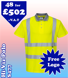48- S477 Hi-Vis Polo XS-6XL with YOUR LOGO £502