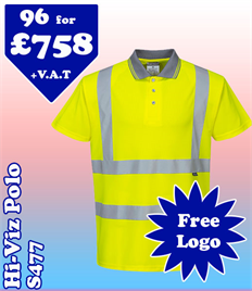 96- S477 Hi-Vis Polo XS-6XL with YOUR LOGO £758