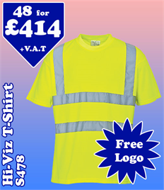48 - S478 Hi-Vis T-Shirt XS-6XL with YOUR LOGO £414