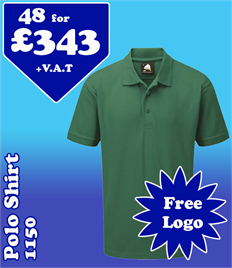 48 - 1150 Polo Shirts XS-5XL with YOUR LOGO- £343