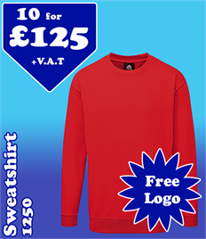 10 - 1250 Sweatshirts with YOUR LOGO £125 +VAT