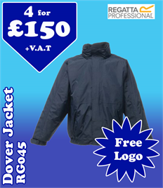 4 - RG045 Regatta Dover Jacket with YOUR LOGO £150 +VAT