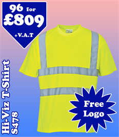 96 - S478 Hi-Vis T-Shirt XS-6XL with YOUR LOGO £809