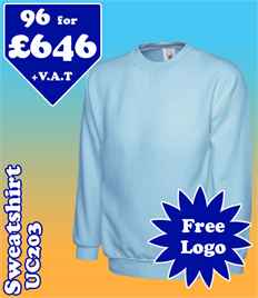 96- UC203 Sweatshirt XS-2XL with YOUR LOGO £646