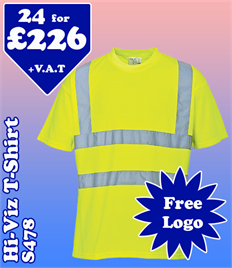 24 - S478 Hi-Vis T-Shirt XS-6XL with YOUR LOGO £226