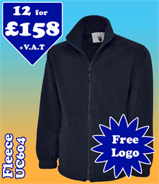 12 - UC604 Fleece XS-2XL with YOUR LOGO £158