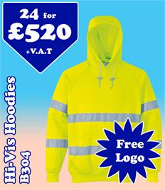 24- B304 Hi-Vis Hoodies S-3XL with YOUR LOGO £520