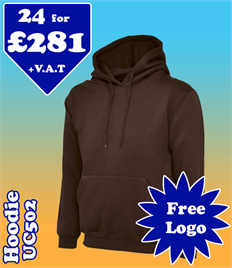 24 - UC502 Hoodie XS-2XL with YOUR LOGO £281