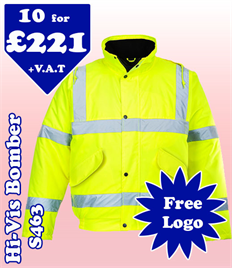 10 - S463 High-Vis Bomber Jackets XS-5XL with YOUR LOGO £221