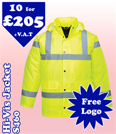 10 - S460 High-Vis Traffic Jackets XS-5XL with YOUR LOGO £205