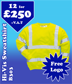 12 - B303 Hi-Vis Sweatshirts with YOUR LOGO £250 +VAT