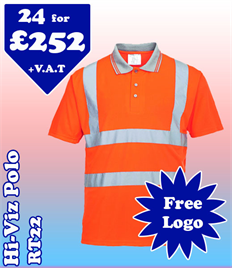 24- RT22 Hi-Vis Polo XS-5XL with YOUR LOGO £252