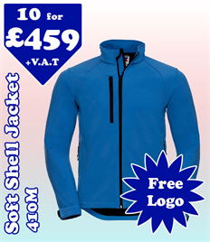 10 - 410M Soft Shell XS-4XL with YOUR LOGO £459