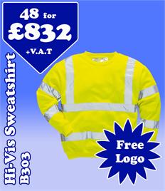 48- B303 Hi-Vis Sweatshirts S-5XL with YOUR LOGO- £832