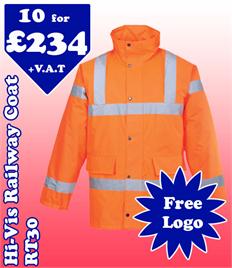 10 - RT30 Hi-Viz Railway Coat XS-5XL with YOUR LOGO £234