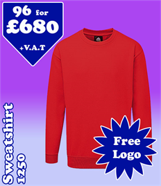 96 - 1250 Sweatshirts XS-5XL with YOUR LOGO- £680