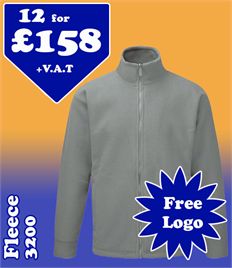 12 - 3200 Fleeces XS-5XL with YOUR LOGO- £158