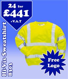 24- B303 Hi-Vis Sweatshirts S-5XL with YOUR LOGO- £441