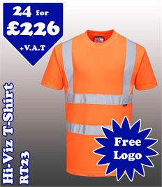 24- RT23 Hi-Vis T-Shirt XS-5XL with YOUR LOGO £226