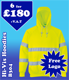 6 - B304 Hi-Vis Hoodies with YOUR LOGO £180 +VAT