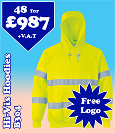 48- B304 Hi-Vis Hoodies S-3XL with YOUR LOGO £987