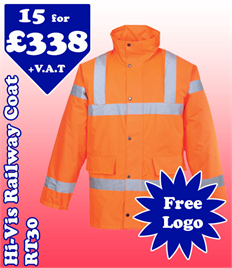 15 - RT30 Hi-Viz Railway Coat XS-5XL with YOUR LOGO £338