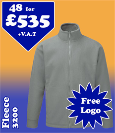 48 - 3200 Fleeces XS-5XL with YOUR LOGO- £535